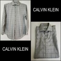 Calvin Klein CK Men's Plaid Slim Fit Dress Shirt Gray 15 1/2 32/33 Button front