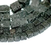 Lava Perlen Würfel schwarz poliert 6 - 12 mm, 1 Strang #4914 BACATUS Edelstein
