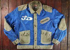 De Colección Diesel Cuero de vaca cuero de gamuza y Azul Nylon Casual Sport Chaqueta Retro Grande 44