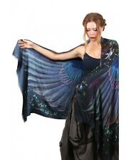 Onyx Dark wings Designer Shawl, Scarf, Hand Painted Wrap 100% Silk