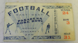 #1 Pasadena Rose Bowl Football Ticket East West January 1945 World War 2