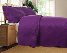 DaDa Bedding Thin Lightweight Solid Purple Plum Quilted Coverlet Bedspread Set