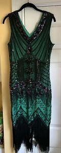 BABEYOND 1920s  Dark Green & Black Beaded Fringe Gatsby Flapper Dress Sz. Large