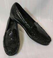 NWOB SAS loafers 8.5 S slim BLACK leather shoes Alligator NEW flats slip-on