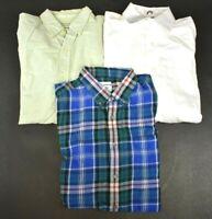 Lot Of 3 Mens Size Medium Casual Long Sleeve Button Up Shirts Plaid & Plain Fall