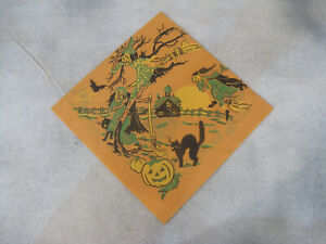 Halloween Crepe Paper Napkin C A Reed? Witches vintage 1950s