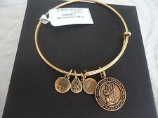 Alex and Ani SAINT CHRISTOPHER Russian Gold Charm Bangle New W/Tag Card & Box