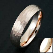 Engraved Rose Gold Tungsten Hammered Brushed Finish Wedding Band Ring 4mm or 6mm