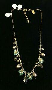 VTG 14k Gold Filled Crystal Necklace Rapz Charity DS61