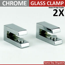 2X ADJUSTABLE CHROME MIRROR EFFECT GLASS SHELF SUPPORT CLAMP BRACKETS 4 To 10 mm