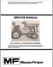 Massey Ferguson MF10 MF12 Tractor SERVICE REPAIR SHOP MANUAL MF-10 MF-12 LGT