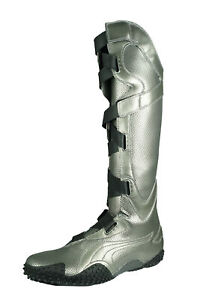 Puma Mostro Alto Met Women's Knee High Boots Hook & Loop Strapped Shaft - Silver