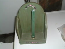 Antique Green Primitive Hand Painted Wood Candle Holder Wall Sconce