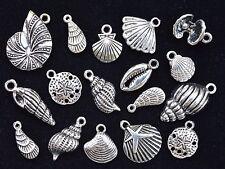 16pcs SEA SHELL CHARM SET, 14mm to 24mm, Tibetan Silver, 1 & 2-sided & 3D