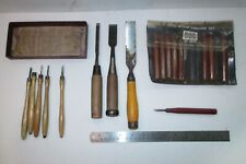 Tools Woodcarving Japanese White Steel Chisels and Two Smaller Carving Sets