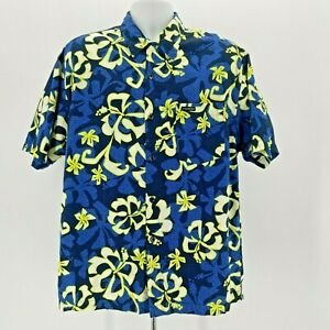 Vintage Rusty Blue Floral Hawaiian Button Shirt Mens Medium