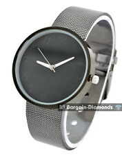 men's designer black steel tone modern business watch steel mesh bracelet