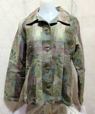 COLDWATER CREEK CHENILLE TAPESTRY JACKET IN HEATHER COLORS & EMBROIDERY SMALL