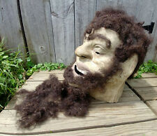 Vintage Paper Mache Odd Fellows Goliath Ceremnoial Lodge Mask, Real Hair