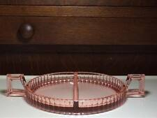 Heisey Flamingo Pink 473 Narrow Flute depression glass divided relish tray