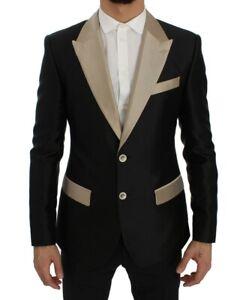 Dolce & Gabbana Blazer Men's Black Beige Silk Slim Jacket IT44/US34/XS