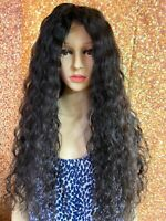 24 INCH HUMAN HAIR LACE FRONT WIG BRAZILIAN REMY WAVY LONG GLUELESS VIRGIN