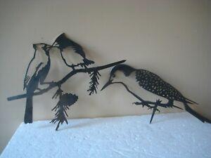 Set 2 Hammer in Metal Bird Tree Art Silhouette Garden Sculpture Figures