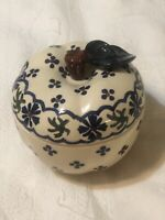 "BOLESLAWIEC WIZA POLAND POTTERY APPLE BAKER CANDY DISH LID 5"" Tall 5"" Opening"