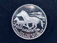1992 Mongolia 250 ₮ tugrik, silver proof of Endangered Przewalski Horse.