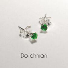 925 Sterling Silver 2.5MM Emerald Green Stud Earrings