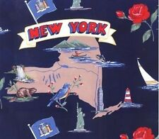 Empire State of New York Map Tourism Fleece Fabric Print by the Yard A240.02