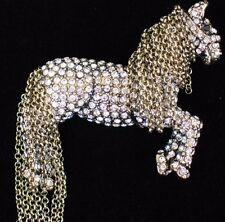 NEW HEIDI DAUS TALLY HO HORSE PONY PIN BROOCH JEWELRY MOVABLE MANE CHAIN $169 #1