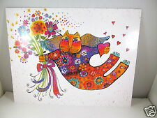 Laurel Burch Happy Birthday Large Greeting Card Bright Cat With Flower Bouquet