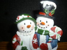 Yankee Candle Mr. and Mrs. Snowman Couple Tea Light Candle Holder FREE ShipNEW