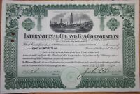 1920 Stock Certificate: 'International Oil & Gas Corporation'