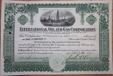 1920 Stock Certificate: 'International Oil & Gas Corporation'