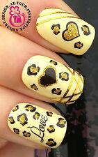 Nail Art Wrap transferencias de agua Stickers Calcomanías Brillo Leopard Print Corazones # 4