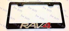 Toyota RAV4 3D Emblem Black Stainless Steel License Plate Frame Rust Free W/ Cap