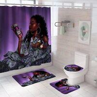 Rich Bathroom Rug Set Shower Curtain Non Slip Toilet Lid Cover Bath Mat