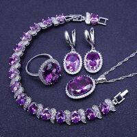 STUNNING Purple Amethyst 925 Silver Necklace Pendant Earrings Ring Bracelet set