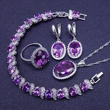 STUNNING Purple Amethyst 925 Silver Necklace Pendant Earrings Ring Bracelet set