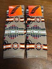 Native American Navajo Indian Design Print Pendleton Style Brown Socks 2 Pairs