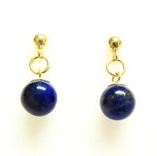 9ct Gold Earrings Genuine Natural Semi-precious Lapis Lazuli Gemstone Beads