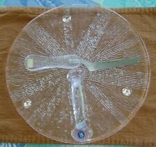 Mint Midcentury Modern Lindshammar Sweden Glass Cheese Tray Plate Hackman Knife