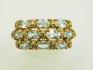 Ladies 10 stone Blue Topaz Ring Vermeil Gold over Sterling Silver Size 7