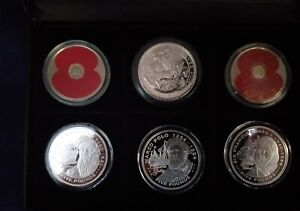 6x 1oz  Silver Proof Coins 925 & 958/1000 Uncirculated Cased