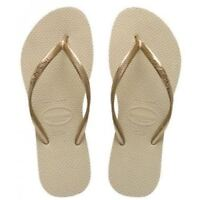 Havaianas Slim Brazil Women's Flip Flops Sand Grey Size US-6 EUR-37/38