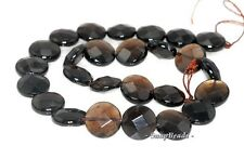 16MM  SMOKY QUARTZ GEMSTONE FACETED FLAT ROUND LOOSE BEADS 7.5""