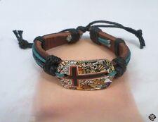 Bracelet Cuir Tressé Style Surfeur Motif Croix Réglable Unisexe