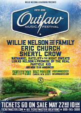 """WILLIE NELSON/ERIC CHURCH 2017 """"OUTLAW MUSIC FESTIVAL"""" NEW JERSEY CONCERT POSTER"""
